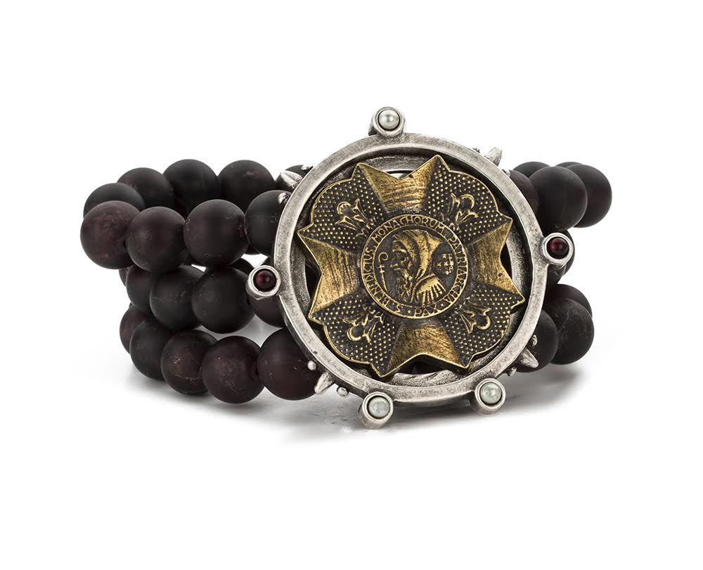 French Kande Labradorite Triple Strand Joan of Arc Ministry Medallion Bracelet