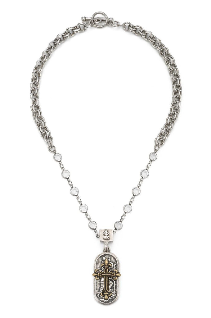 French Kande Double Cable Swarovski St. Christopher Medallion with Fleur de Lis Cross Necklace
