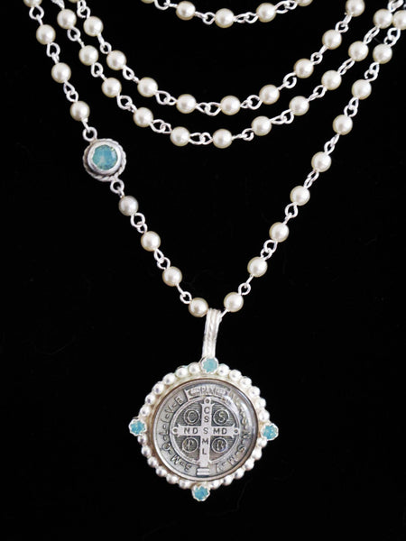 Virgins Saints & Angels San Benito Magdalena Necklace Swarovski Pearl and Pacific Opal in Silver