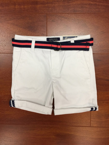White Pique Shorts Shorts with Belt