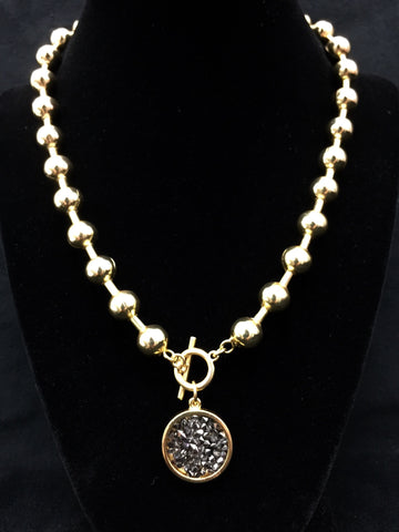 Gold Ball Chain Necklace w/ Charm