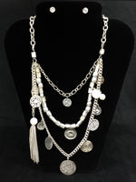 Coin and Pearl Necklace w/ Earrings