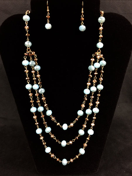 Chocolate & Blue Beaded Necklace w/ Earrings
