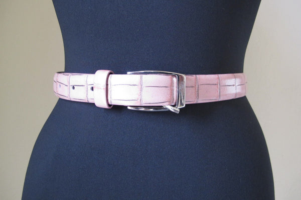 Slim Pink Leather Belt