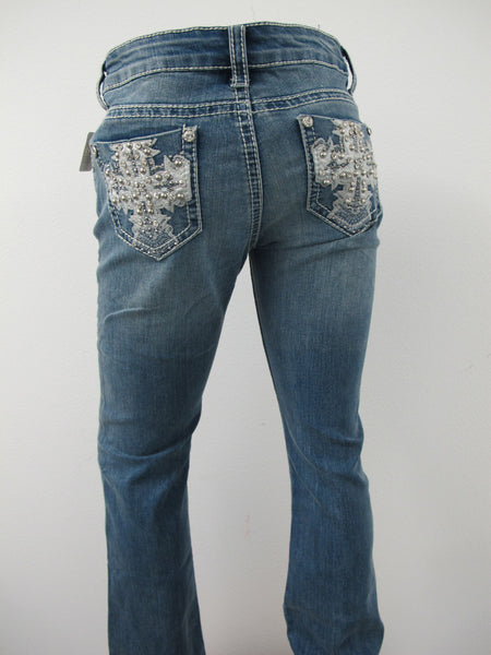 Premium Jeans with silver leather cross and rhinestones