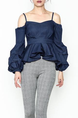 Off Denim ruffle Top