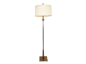edgebrookhouse - 1950s Stiffel Brass and Walnut 3/4 Height Floor Lamp