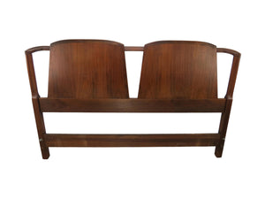 edgebrookhouse - 1960s Mid-Century Danish Figural Walnut Double Shield Back Headboard - Size Full / Double