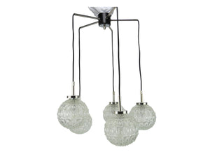 edgebrookhouse - 1960s Doria Leuchten, Gnarrenburg Germany Glass Five Globe Pendant / Suspension Light