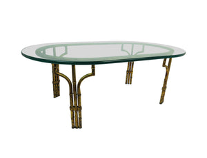 edgebrookhouse - 1960s Gilded Metal Faux Bamboo and Glass Coffee Table
