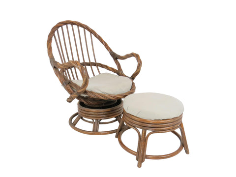 edgebrookhouse - 1960s Twisted Bamboo and Rattan Mamasan Bucket Swivel Rocker Lounge Chair With Ottoman
