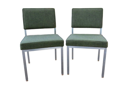 edgebrookhouse - 1960s Vintage Modernist Aluminum Side Chairs by Harter - a Pair