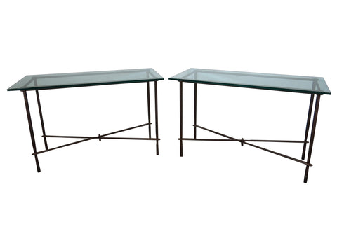 edgebrookhouse - 1970s Vintage Hand Forged and Hammered Wrought Iron & Glass Console Tables - a Pair