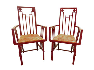 edgebrookhouse - 1970s red lacquer art deco armchairs by buying and design italy a pair