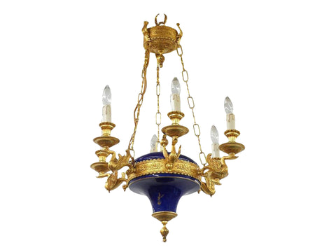 edgebrookhouse - French Empire Inspired Ormolu and Porcelain 6-Light Chandelier by F.B.A.I. Italy