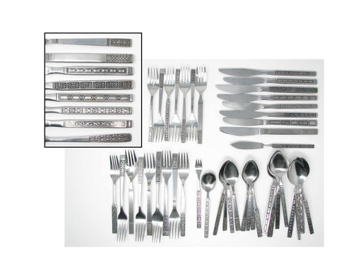 edgebrookhouse - Vintage Mid 20th Century Design Mix Match Stainless Steel Silverware Flatware Set A – 8 Place Settings Plus