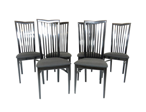 edgebrookhouse - 1970s Black Lacquer Pietro Costantini for Ello High Back Dining Chairs - Set of 6