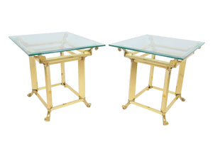 1980s French Polished Brass and Glass Side Table - a Pair
