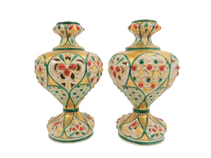 edgebrookhouse - Antique Italian Polychrome and Gilt Embossed Reticulated Majolica Jewel Urns - a Pair