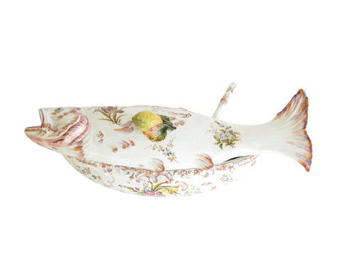 edgebrookhouse - Vintage Italian Fish Shaped Hand Painted Ceramic Soup Tureen with Ladle