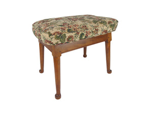 edgebrookhouse - Antique Queen Anne Shaker Style Solid Maple Footstool With Needlepoint Fabric