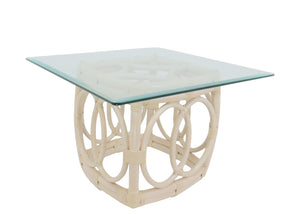 Vintage Ficks Reed Faux Bamboo Sculptural Side Table With Glass Top