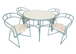 Vintage Postmodern Sculptural Aluminum Patio / Outdoor Dining Set - 5 Pieces