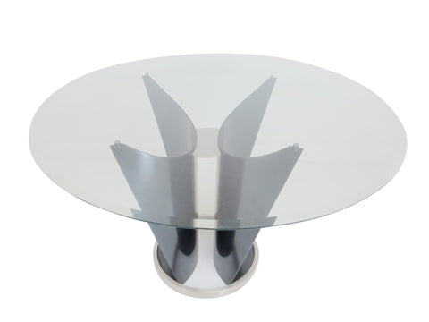 edgebrookhouse - 1980s Italian Cassoni Vele Style Sculptural Steel Butterfly Table With Glass Top