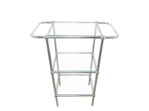 edgebrookhouse - Vintage Chrome and Glass 3-Tier Bar Stand
