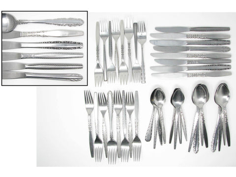 edgebrookhouse - Vintage Traditional Modern Mix Match Stainless Steel Silverware Flatware Set B – 8 Place Settings