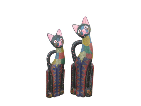 edgebrookhouse - Vintage Large Balinese Hand Carved and Hand Painted Wooden Cat Sculptures - Set of 2