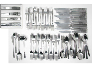 edgebrookhouse - Vintage Scroll Mix Match Stainless Steel Silverware Flatware Set A – 12 Place Settings Plus