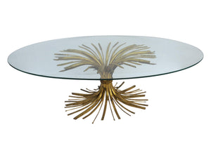 edgebrookhouse - Hollywood Regency Gilt Metal Wheat Sheaf Oval Glass Top Coffee Table