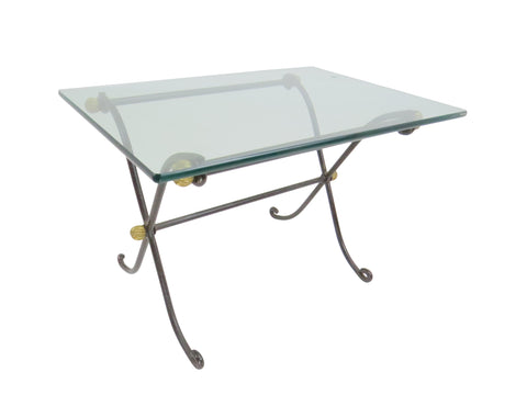 edgebrookhouse - Vintage French Empire Style Iron and Glass Side Table With Brass Accents