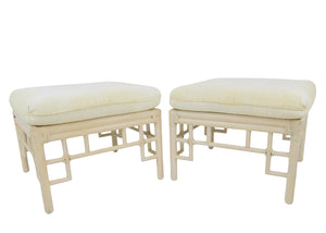 Vintage Ficks Reed Faux Bamboo Ottomans - a Pair
