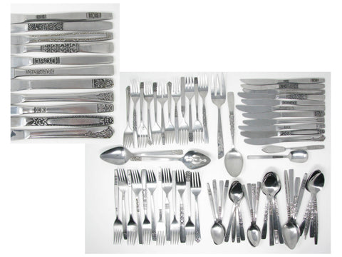 edgebrookhouse - Vintage Floral Mix Match Stainless Steel Silverware Flatware Set B – 12 Place Settings Plus