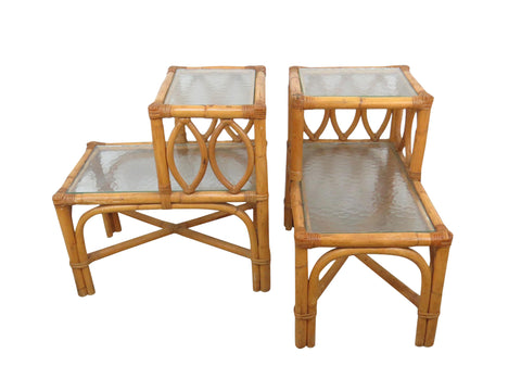 edgebrookhouse - Vintage Boho Chic Bamboo and Wicker Step Up End Tables With Glass Shelves - a Pair