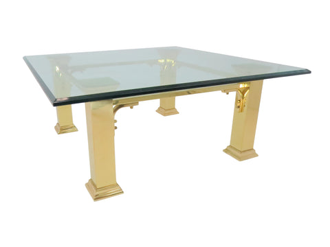 edgebrookhouse - Vintage Brass and Glass Coffee Table With Wide Square Column Legs