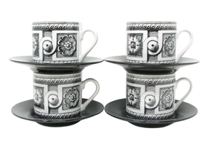 Vintage Fornasetti Style Black & White Demitasse Cups & Saucers - 4 Sets