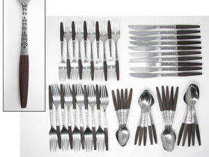 edgebrookhouse - Vintage Danish Modern Stainless Steel & Wood Flatware by Interpur Set B – 10 Place Settings Plus