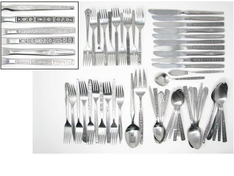 edgebrookhouse - Vintage Floral Mix Match Stainless Steel Silverware Flatware Set C – 10 Place Settings Plus