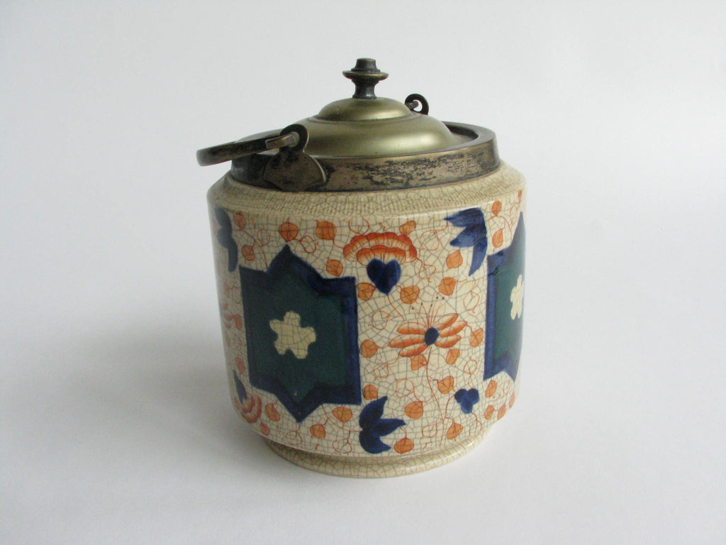 Antique Burslem English Pottery Imari Biscuit Jar with Silver Plate