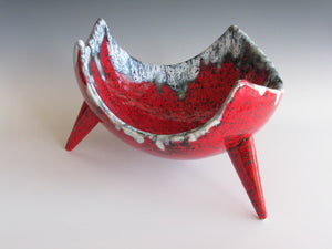 edgebrookhouse - Vintage Organic Form Lava Red Ceramic Three Footed Bowl