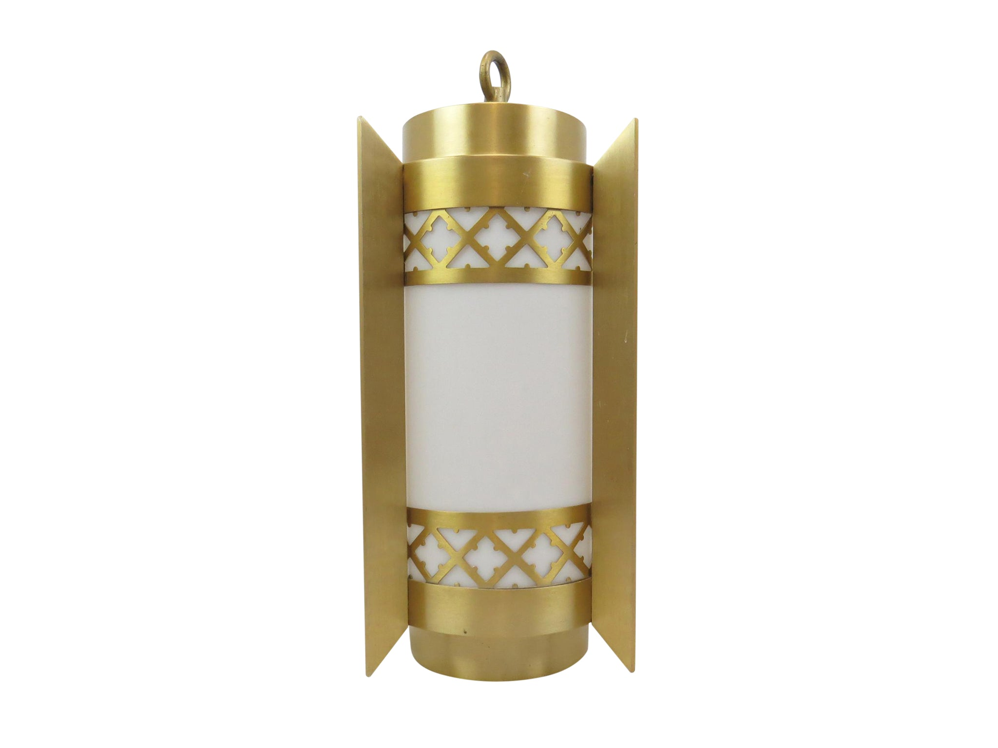 edgebrookhouse - Art Deco Style Brushed Brass and White Acrylic Hanging Pendant Light