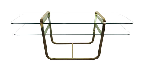 edgebrookhouse - 1970s Vintage DIA Brass and Glass 2-Tier Console Table