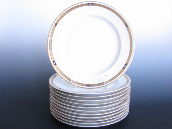 edgebrookhouse - 1930s H&Co Selb Bavaria Art Deco Style Porcelain Dinner Plates - Set of 12