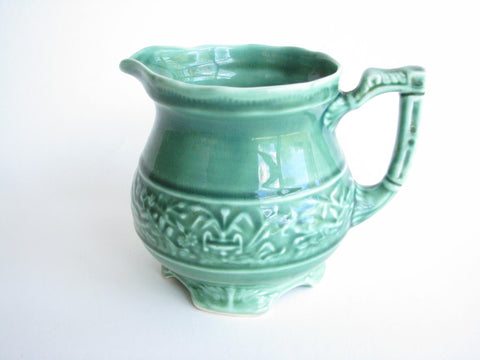 edgebrookhouse - 1940s Green Vogue Mount Clemens Pottery Pitcher with Embossed Pheasant Design