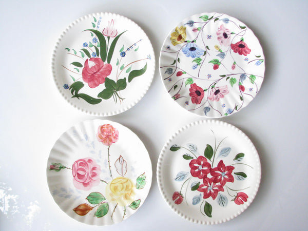 edgebrookhouse - 1940s Southern Pottery Blue Ridge Mix Match Floral Ironstone Dinner Plates - Set of 4