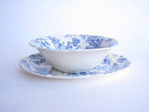 edgebrookhouse - 1940s Taylor Smith & Taylor Dogwood Blue Scalloped Serving Dishes - 2 Pieces