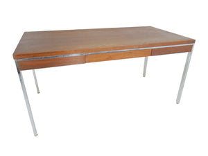 "edgebrookhouse - 1950's Jofco Knoll Style Walnut and Chrome Writing Table Desk - ""Table 600"""